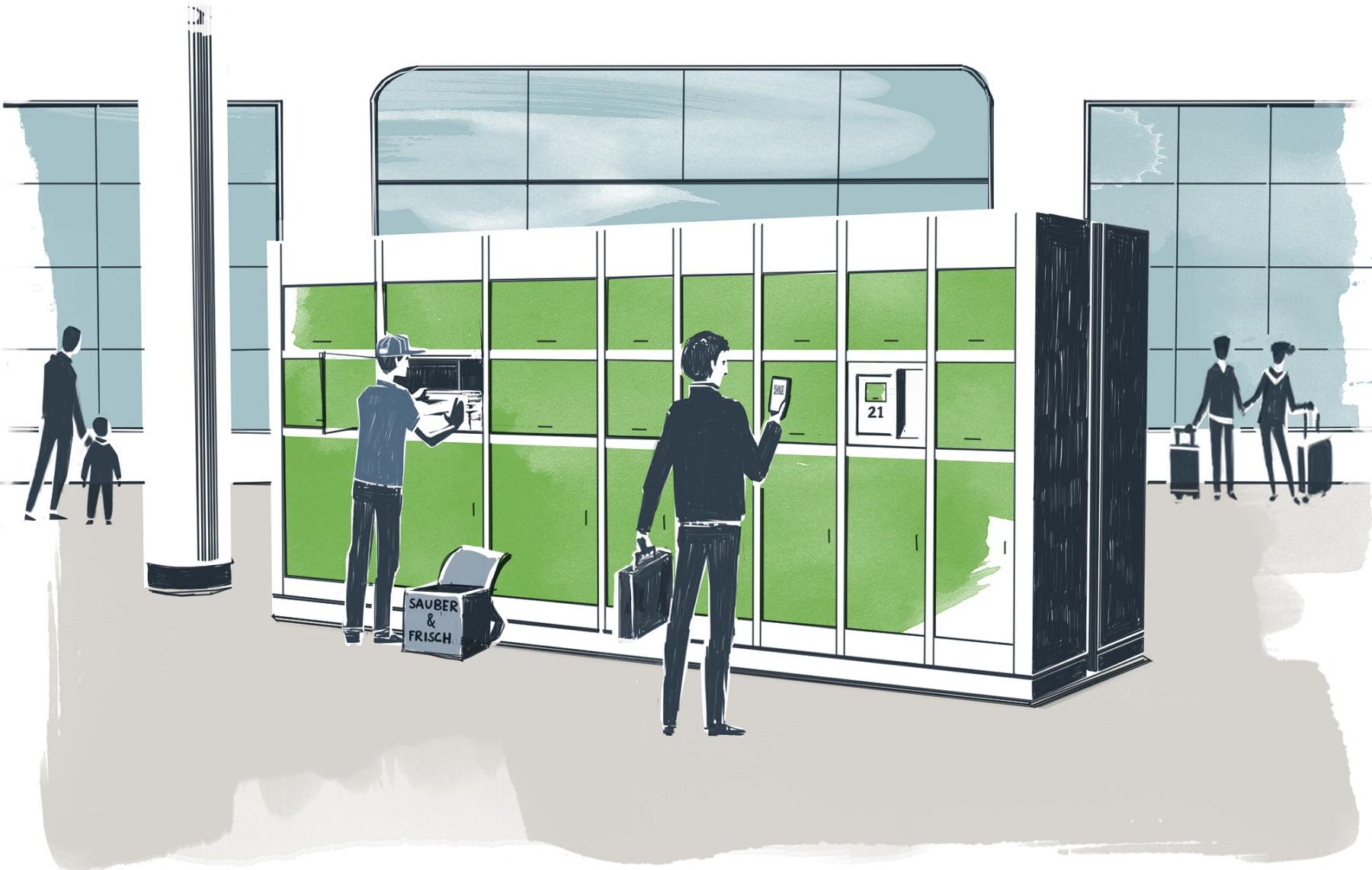 Intelligente Schließfächer am Bahnhof lassen sich per App öffnen