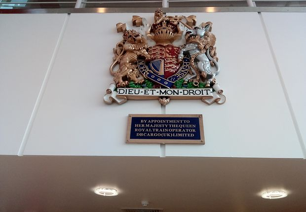The Queen's Coat of arms is prominently in the entrance hall of the DB Cargo UK in Doncaster, UK; Installed.