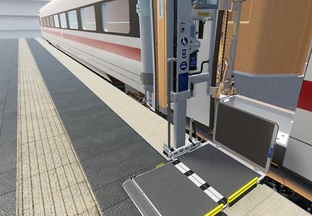 VR-Trainingsanwendung zur Bedienung des Hublifts - Ausgefahrener Hublift des ICE 4 auf dem Bahnsteig