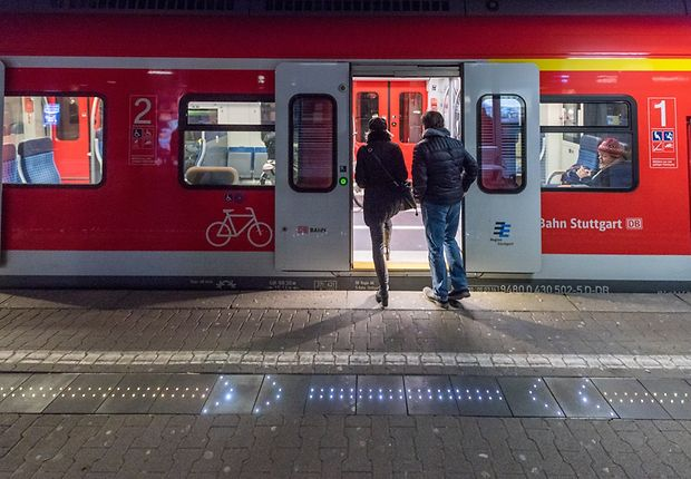 Door positions differ depending on the type of train and are indicated using a white double dotted line.