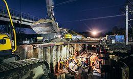 Baustelle für eine Eisenbahnüberführung in Voerde