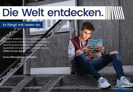 """Es fängt mit Lesen an. Kampagnenmotiv """"Die Welt entdecken"""""""