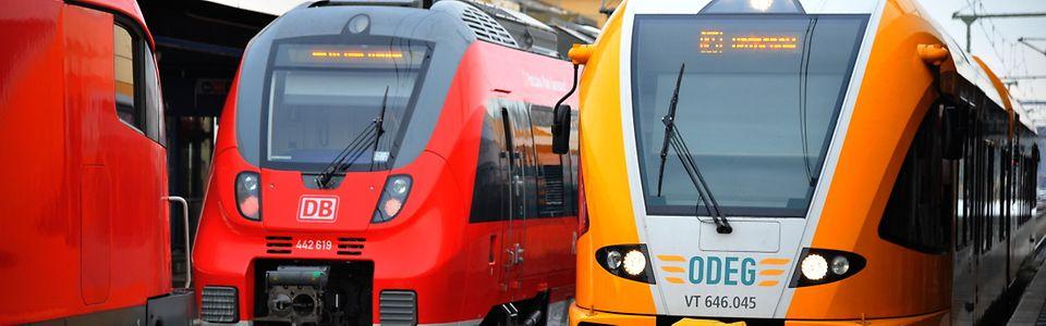 ODEG GTW 2/6 neben Talent 2 von DB Regio