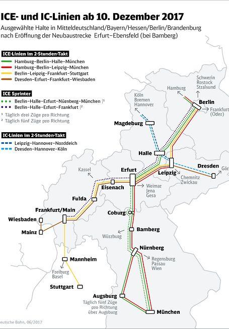 ICE- und IC-Linien ab 10. Dezember 2017