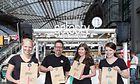 The Getasty Team at Berlin Hauptbahnhof: Lisa Behn, Lars Holzmann, Svenja Thorbeck, Claudia Nguyen