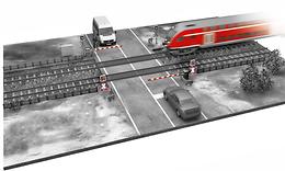 3D-Illustration Bahnübergang