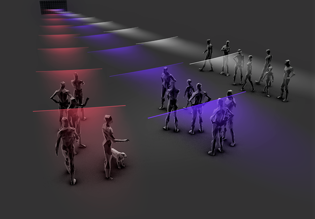 The innovative audio system can direct soundwaves, much like a light beam, to specific groups of people in a space.