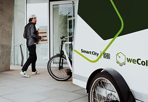 Deliveries are collected in city hubs at railway stations and distributed by cargo bike in the city center.