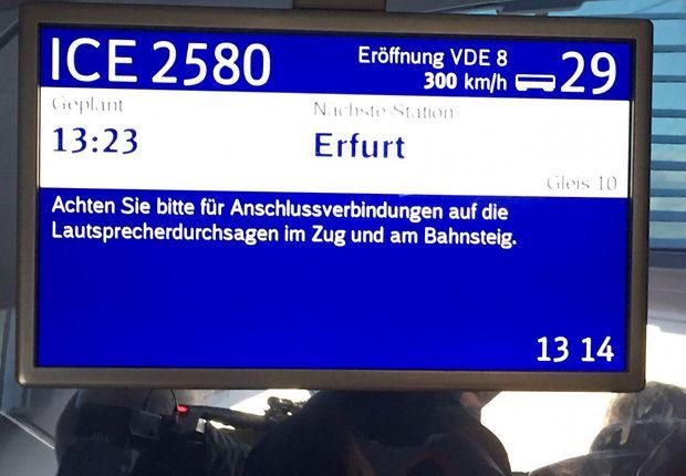 Kurz vor Erfurt: Die magische Geschwindigkeit ist erreicht